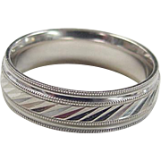 Vintage 14k White Gold Gents Wedding Band Ring