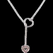 Vintage 14k White Gold Diamond Heart Lariat Necklace