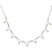 "Vintage 14k White Gold Cultured Pearl Necklace ~ 14"" - 16"""