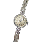 Vintage 14k White Gold Ladies Diamond Rolex Watch ~ Circa 1960's