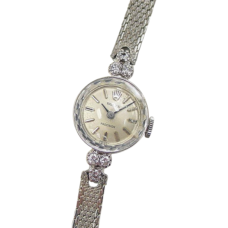 Vintage 14k White Gold Ladies Diamond Rolex Watch Circa