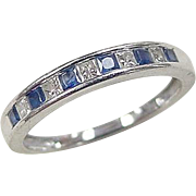 Vintage 14k White Gold .40 ctw Sapphire and Diamond Ring