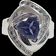 Vintage 14k White Gold Tanzanite and Diamond Ring