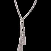 "Vintage 14k White Gold Tassel Lariat Necklace ~ 17 1/2"""