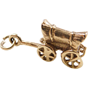 Vintage 10k Gold Covered Wagon Charm