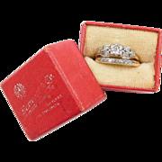 Art Deco .52 ctw Two-Tone Diamond Wedding Set ~ Engagement Ring and Wedding Band ~ Original Red Box