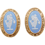 Vintage 14k Gold England Wedgwood Earrings