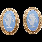 Vintage 14k Gold England Wedgwood Earrings