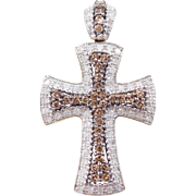 Vintage 10k Gold Two-Tone 1.12 ctw Diamond Cross Pendant