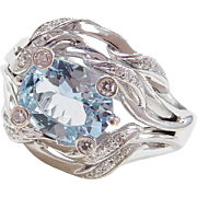 18k White Gold 2.64 ctw Aquamarine and Diamond Ring