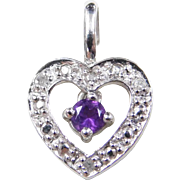 Vintage 10k White Gold Amethyst and Diamond Heart Pendant