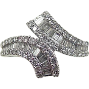 Vintage 14k White Gold .53 ctw Diamond Bypass ring