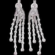 Beautiful 14k White Gold LONG Diamond Dangle Earrings