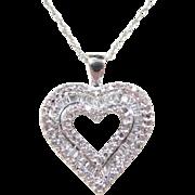"Vintage 14k White Gold .50 ctw Diamond Heart Necklace ~ 18"""