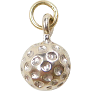 Vintage 14k White Gold Golf Ball Charm