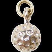 Vintage 14k White Gold Golf Ball Charm
