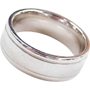 14k White Gold Gents Wedding Band Ring
