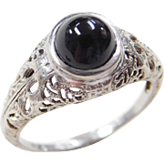 Art Deco 14k White Gold Onyx Dome Ring