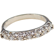 Vintage 14k White Gold .21 ctw Diamond Wedding Band Ring