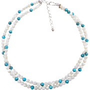 """Sterling Silver White Opal and Blue Turquoise Double Strand Bead Necklace ~ 18"""" - 21"""""""