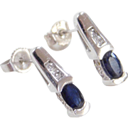 Vintage 14k White Gold .64 ctw Sapphire and Diamond Earrings