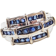 Vintage 14k White Gold .96 ctw Sapphire Ring