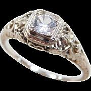 Art Deco 18k White Gold .35 Carat White Sapphire Ring