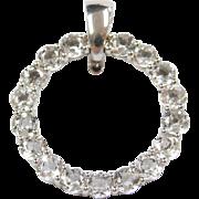 Sterling Silver White Topaz Circle Pendant