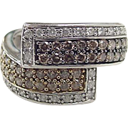 Vintage 14k White Gold .58 ctw White, Yellow and Brown Diamond Bypass Ring