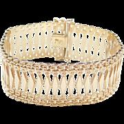 """Vintage 14k Gold 8"""" Wide Gold Bracelet `"""