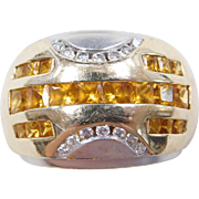 Vintage 14k Gold 1.26 ctw Two-Tone Citrine and Diamond Ring