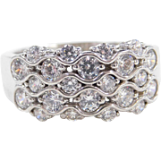 Sterling Silver Wide Faux Diamond Ring