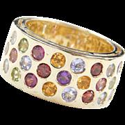 Vintage 14k Gold Colorful Gemstone Ring ~ Citrine, Blue Topaz, Pink Tourmaline, Peridot, Amethyst, Garnet, Iolite