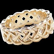 Vintage 14k Gold Men's Celtic Woven Wedding Band Ring