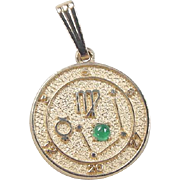 Vintage 14k Gold Zodiac / Astrology Green Glass Charm