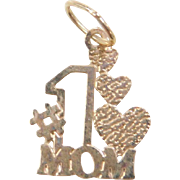 Vintage 14k Gold #1 MOM Charm with Hearts