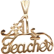 Vintage 14k Gold #1 Teacher Charm