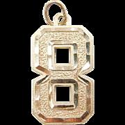 Vintage 14k Gold Number 8 Charm