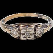 Art Deco 10k Gold Two-Tone .03 ctw Diamond Ring