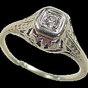 Vintage 18k White Gold .04 Carat Diamond Ring