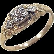 Art Deco 14k Gold Two-Tone .05 Carat Diamond Ring