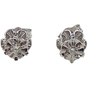 Vintage 14k White Gold .08 ctw Diamond Stud Earrings