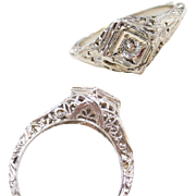 Filigree Art Deco 18k White Gold .08 Carat Diamond Engagement Ring
