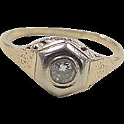 Art Deco 14k Gold Two-Tone .10 Carat Diamond Ring