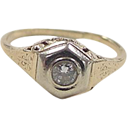 Art Deco 14k Gold Two-Tone .10 Carat Diamond Ring