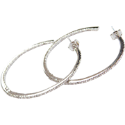 Sterling Silver Inside and Out Diamond Hoop Earrings