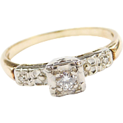 Vintage 14k Gold Two-Tone Floral .13 Carat Diamond Engagement Ring ~ Illusion Head ~ 1940's