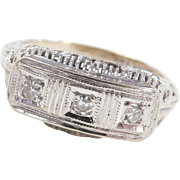 Art Deco 14k White Gold FIligree .12 ctw Diamond Ring