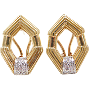 Vintage 18k Gold Two-Tone .14 ctw Diamond Omega Back Earrings ~ 14k Gold Omegas