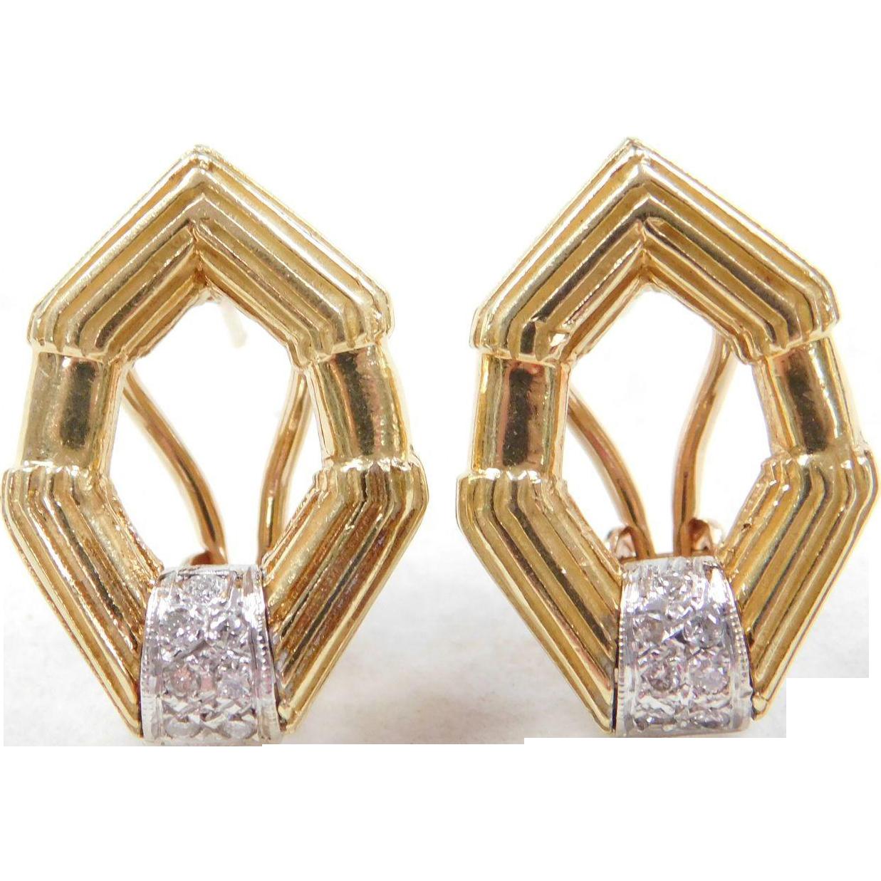 vintage 18k gold two tone 14 ctw diamond omega back. Black Bedroom Furniture Sets. Home Design Ideas
